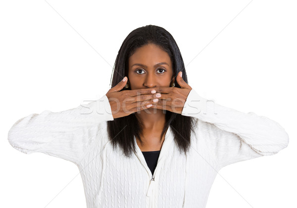 middle aged woman covering closed mouth Stock photo © ichiosea