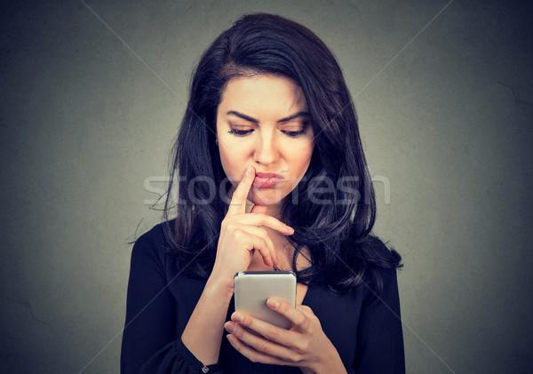 Karışık kadın bakıyor yalıtılmış Stok fotoğraf © ichiosea