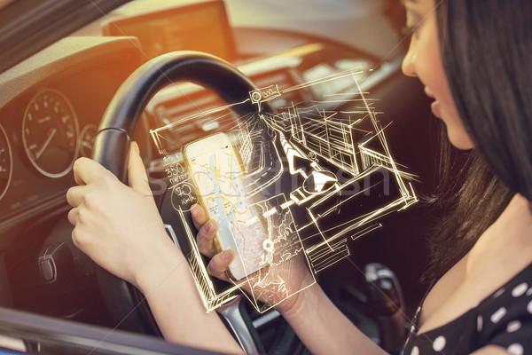 Direito destino mulher telefone móvel encontrar Foto stock © ichiosea