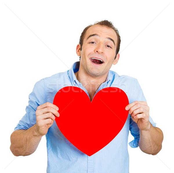 Férfi szeretet közelkép portré boldog mosolyog Stock fotó © ichiosea