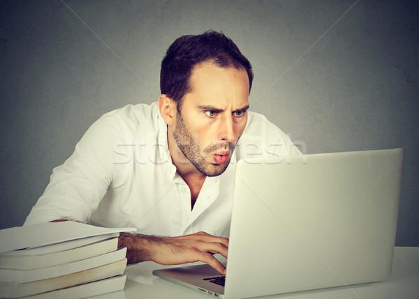 деловой человек сидят компьютер глядя экране Сток-фото © ichiosea