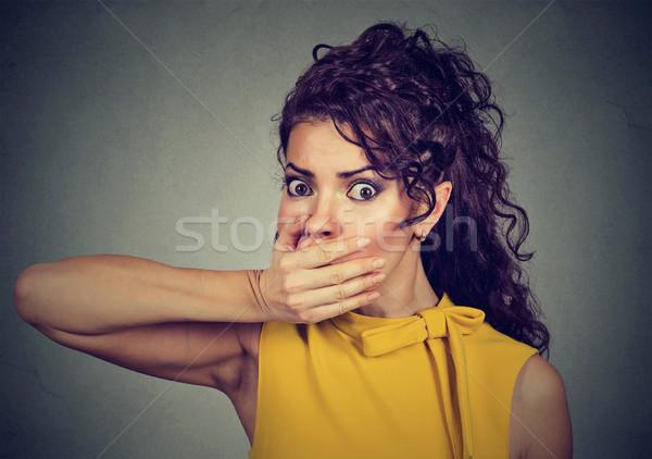 Bać młoda kobieta strony usta portret Zdjęcia stock © ichiosea