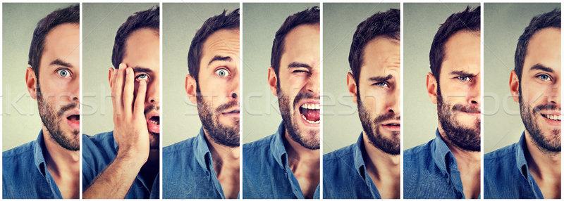 Człowiek nastrój działalności twarz krzyk maska Zdjęcia stock © ichiosea