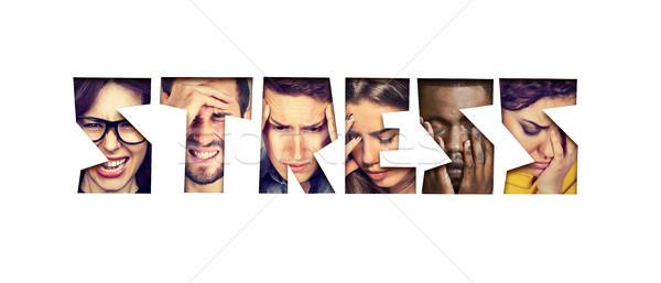 Wort Stress verzweifelt unglücklich Gruppe Menschen Gruppe Stock foto © ichiosea
