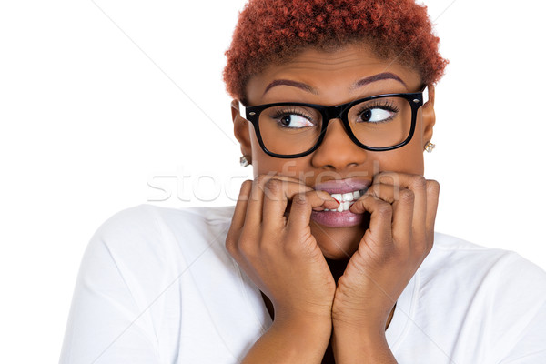 Scared nerdy woman Stock photo © ichiosea