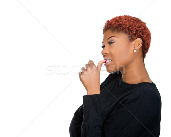 Woman sucking thumb Stock photo © ichiosea