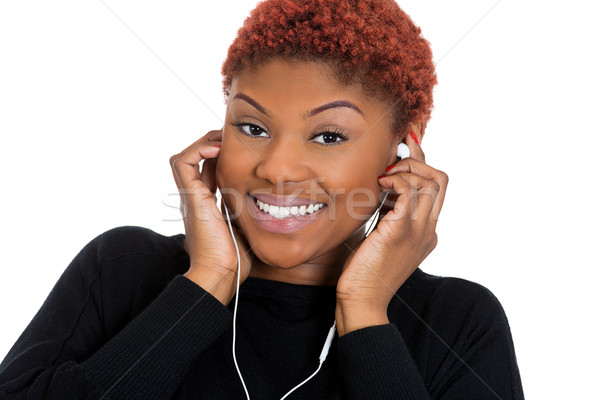 Woman listening to music Stock photo © ichiosea