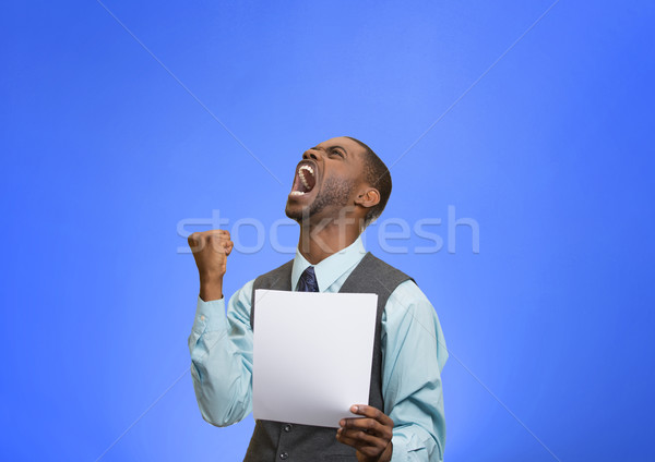 Stock photo: Angry customer, executive man screaming holding document, paper