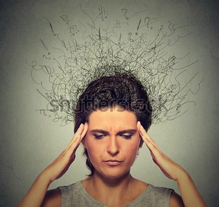 Triest vrouw bezorgd gezicht hersenen Stockfoto © ichiosea