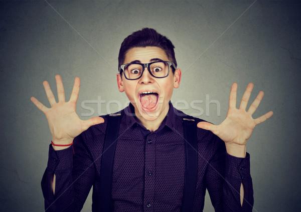 驚いた 興奮した ファンキー 見える 男 悲鳴 ストックフォト © ichiosea