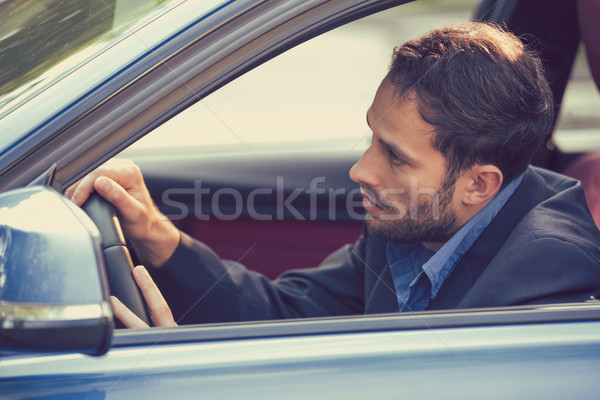 Side window view sleepy fatigued exhausted man driving his car.  Stock photo © ichiosea