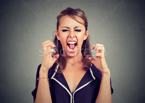 Foto d'archivio: Arrabbiato · frustrato · donna · urlando · ragazza