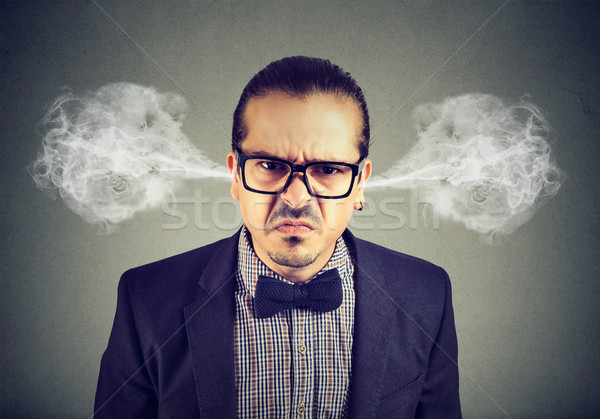 Angry business man, blowing steam coming out of ears, about to have nervous breakdown  Stock photo © ichiosea