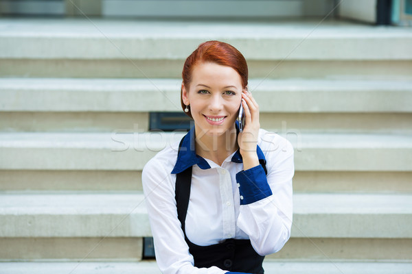 肖像 企業 女性 話し スマートフォン 小さな ストックフォト © ichiosea
