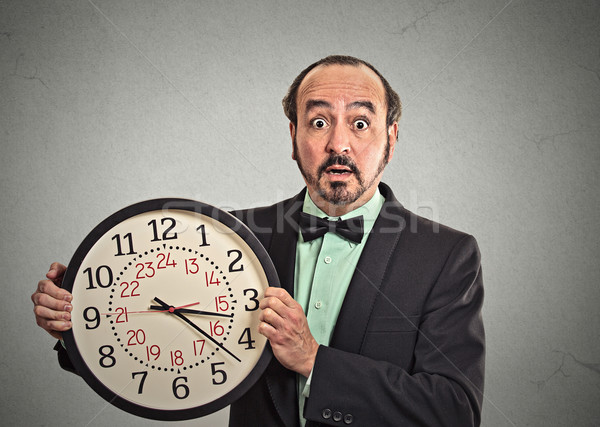 surprised business man in suit holding wall clock Stock photo © ichiosea