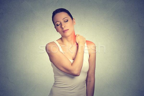 Dolor mujer doloroso cuello hombro Foto stock © ichiosea