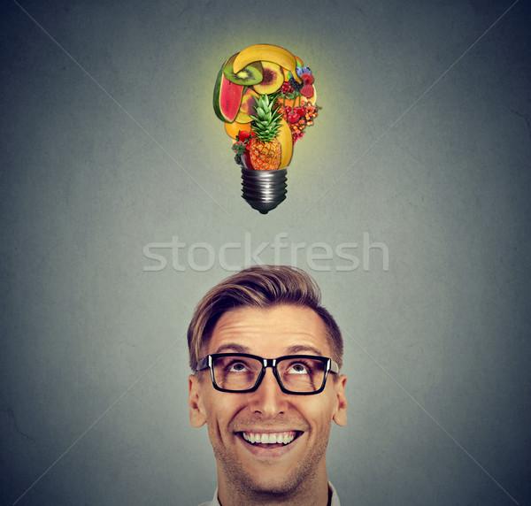 Alimentação saudável homem frutas idéia Foto stock © ichiosea