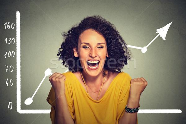 Di successo donna d'affari felice abbondanza crescita giovani Foto d'archivio © ichiosea