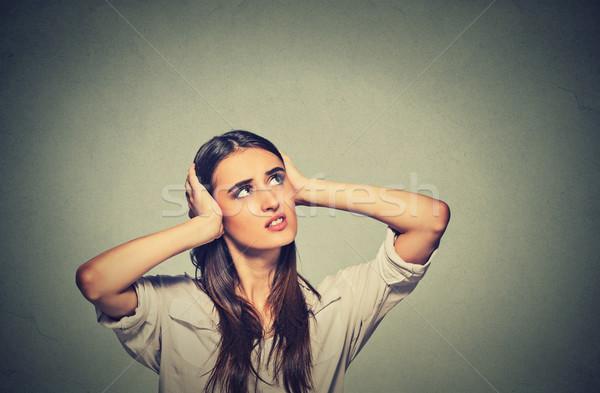 Zły kobieta kłosie głośno Zdjęcia stock © ichiosea