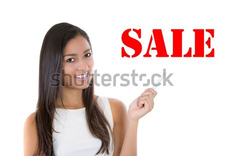excited young woman just came up with idea aha Stock photo © ichiosea