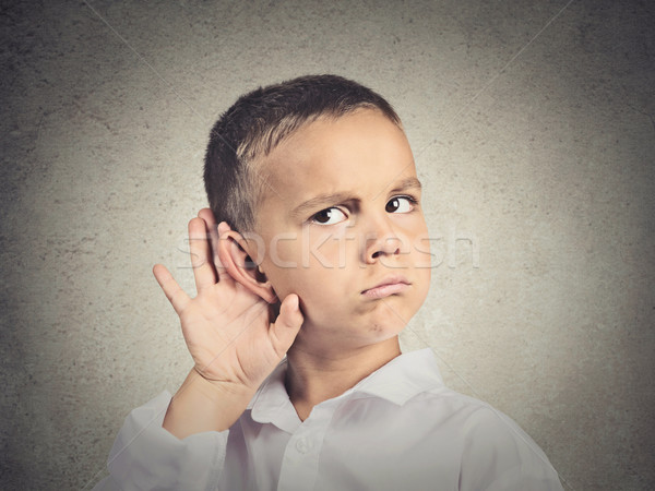 Curious man, boy, listens, hand to ear gesture Stock photo © ichiosea