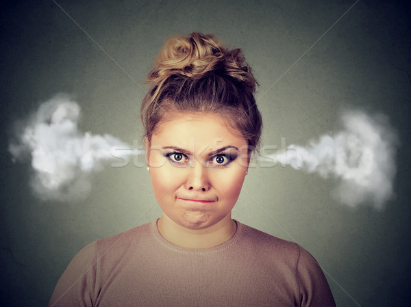 angry young woman, blowing steam coming out of ears Stock photo © ichiosea