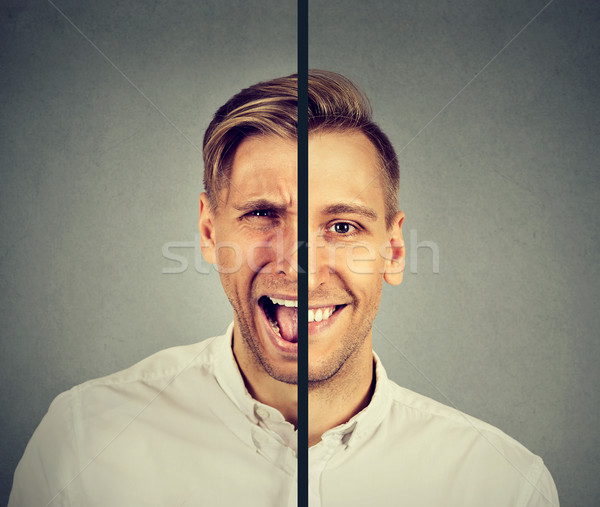 Bipolar disorder concept. Young man with double face expression  Stock photo © ichiosea