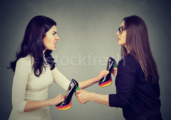 women fighting tearing pulling apart shoes  Stock photo © ichiosea