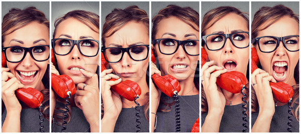 Young woman changing emotions from happy to angry while answering the phone Stock photo © ichiosea