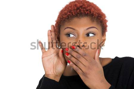 Woman covering mouth Stock photo © ichiosea