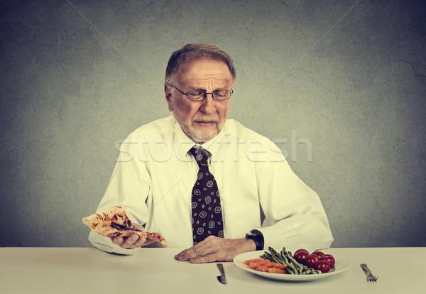 シニア 男 食べ サラダ 脂肪 ストックフォト © ichiosea