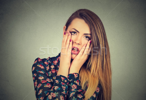 frustrated stressed woman with hands on face upset about to cry Stock photo © ichiosea