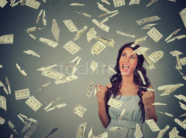 Mujer extático éxito dinero lluvia caer Foto stock © ichiosea