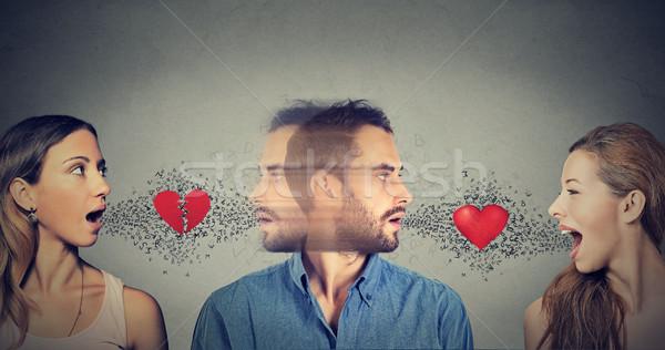 új kapcsolat szeretet háromszög fiatalember másik Stock fotó © ichiosea