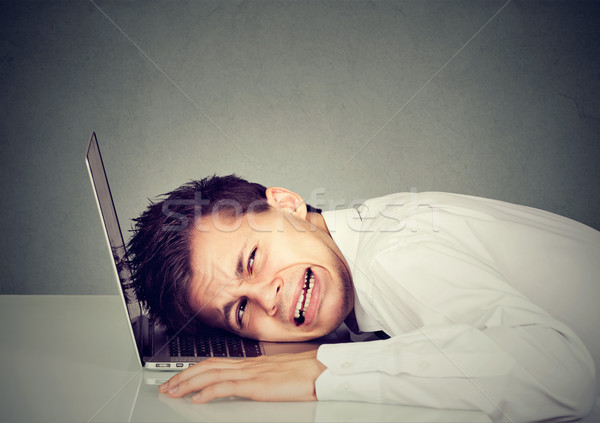 desperate business man with head on laptop keyboard Stock photo © ichiosea