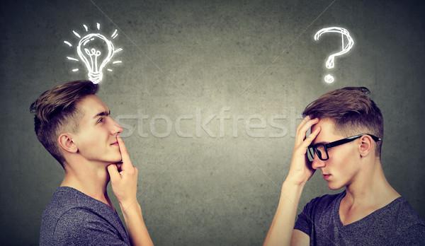 二人の男性 思考 1 質問 ソリューション ストックフォト © ichiosea