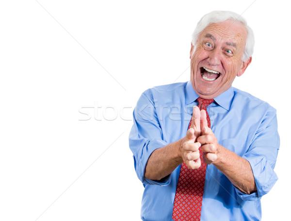 Idős férfi mutat nevet közelkép portré idős Stock fotó © ichiosea