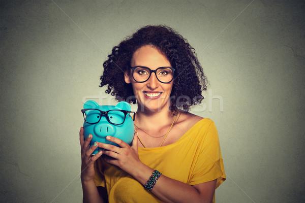 Zdjęcia stock: Skarbonka · kobieta · okulary