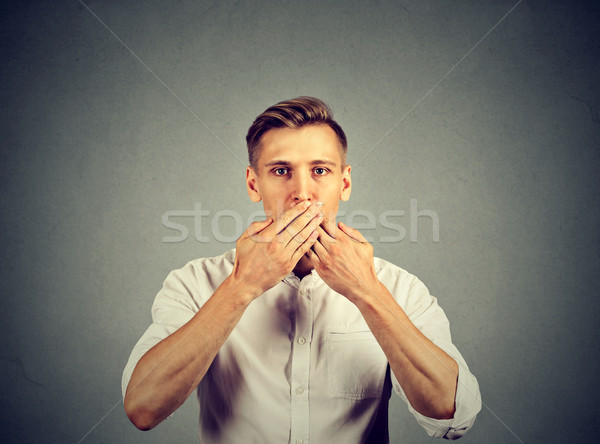 человека рук рот безмолвный изолированный серый Сток-фото © ichiosea
