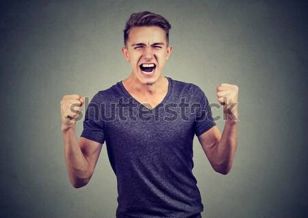 angry man raising hands in air attack with karate chop Stock photo © ichiosea