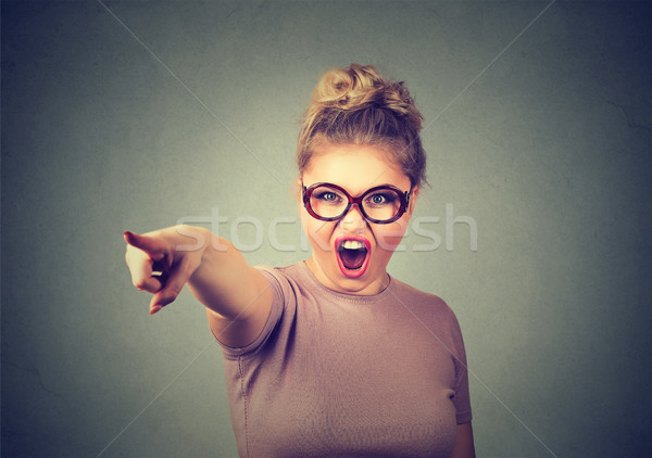 Angry woman accusing someone screaming pointing with finger  Stock photo © ichiosea