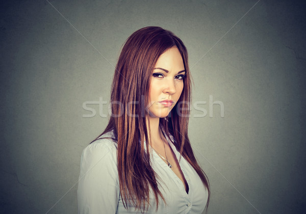 Elégedetlen mérges nő rossz hozzáállás néz Stock fotó © ichiosea