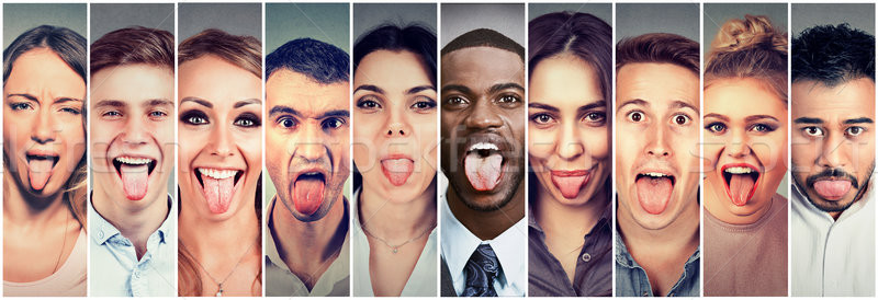 Group of multicultural young people men and women sticking out their tongues Stock photo © ichiosea