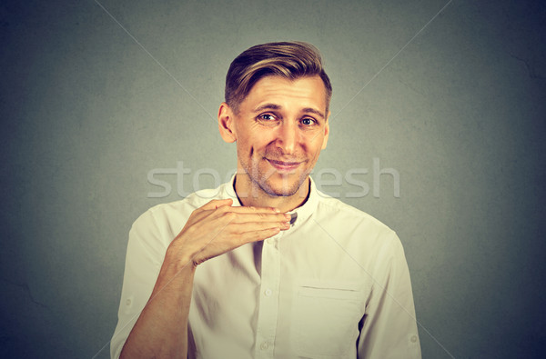 angry man gesturing with hand to stop talking cut it out Stock photo © ichiosea