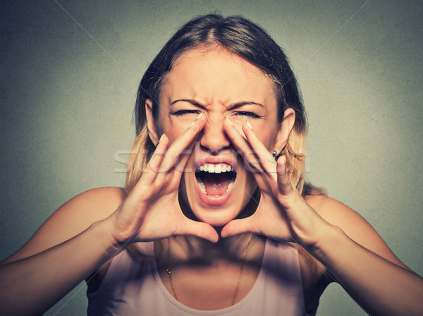 angry young woman having nervous atomic breakdown, screaming  Stock photo © ichiosea