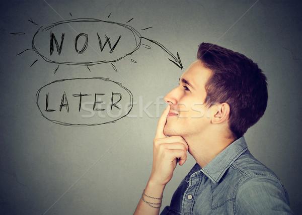 Most férfi gondolkodik készít felfelé elme Stock fotó © ichiosea