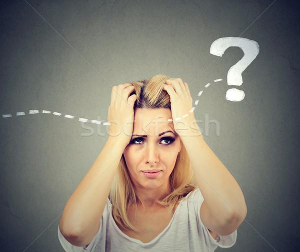 Desesperado mulher jovem pensando olhando solução Foto stock © ichiosea
