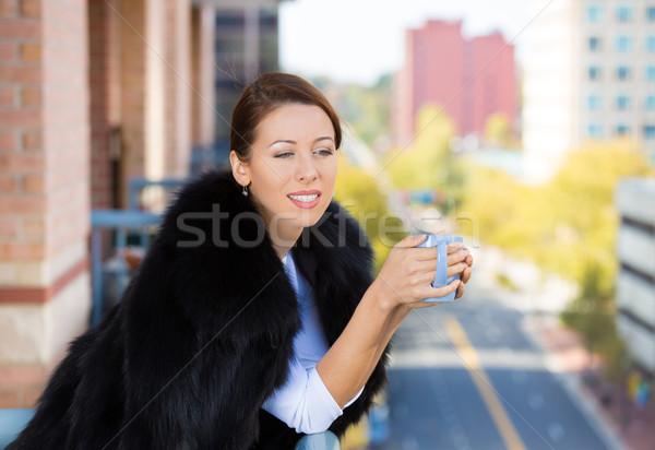 Belo sorridente mulher jovem dia varanda Foto stock © ichiosea