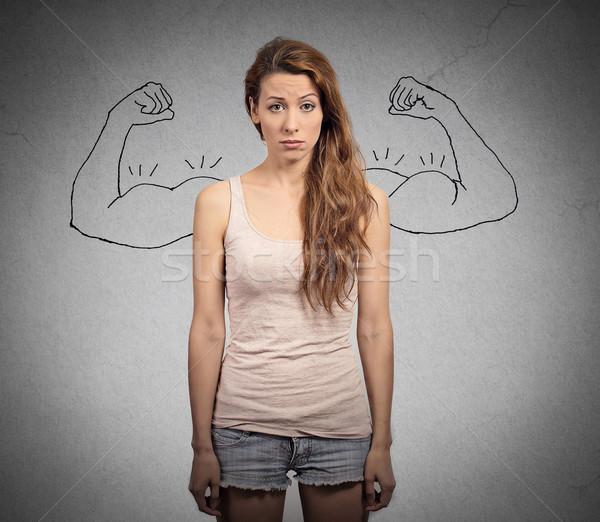Сток-фото: мощный · девушки · реальность · против · амбиция · мышления