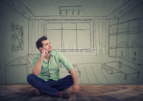 Homem isolado sala de estar jovem Foto stock © ichiosea